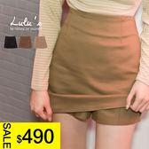 LULUS特價-L韓製-後鬆緊素面褲裙-3色  現+預【04070221】