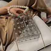 手提包 小女包新款鍊條包單肩斜背包透明手提珍珠包百搭ins - 雙十二交換禮物