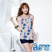 【夏之戀SUMMERLOVE】大尺碼熱帶印花長版兩件式泳衣(S16717)