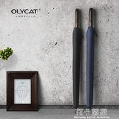 Olycat創意復古木柄24骨男女通用款手動長柄加固結實防風晴雨傘  莉卡嚴選