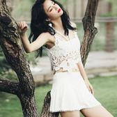 韓國性感泳衣女比基尼三件套顯瘦蕾絲縷空罩衫小胸鋼托聚攏黑白色