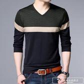 秋季韓版t血中青年男士長袖t恤雞心領中年人男裝丅冰絲薄款針織衫『韓女王』