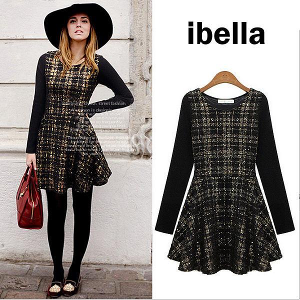 現貨 歐美洋裝燙金格紋圓裙收腰長袖洋裝【71-884】 ibella 艾貝拉