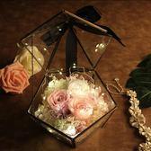 永生花玫瑰禮盒套裝玻璃罩七夕生日禮物送女朋友保鮮花情人節diy