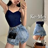 克妹Ke-Mei【ZT68310】JP原單假二件排釦高腰激瘦水洗牛仔褲裙