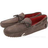 TOD'S For Ferrari 磨砂牛皮綁帶豆豆鞋(男款/棕色) 1740451-07