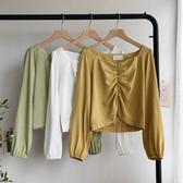 收腰上衣 秋裝2019年新款韓版修身方領褶皺短款收腰雪紡上衣女長袖襯衫顯瘦