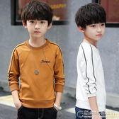 男童長袖t恤秋裝大童男孩保暖上衣兒童加絨打底衫韓版潮 街頭布衣