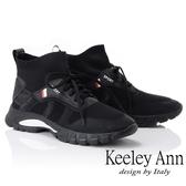 ★2018秋冬★Keeley Ann率性街頭~中筒襪套式綁帶休閒鞋(黑色) -Ann系列