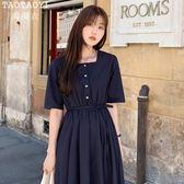 洋裝 復古方領棉麻連身裙氣質中長款繫帶過膝大擺裙 店慶降價
