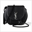 YSL SAINT LAURENT銀字LOGO流蘇設計牛皮扣式斜背包(黑)