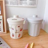 【BlueCat】美式復古 蓋子可鎖緊 垃圾桶 桌面收納盒