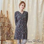 【Tiara Tiara】激安 綜合辣椒排釦罩衫洋裝(藍/灰)