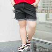 大碼女褲胖mm夏裝腿粗的女生胖妹妹鬆緊腰反折牛仔短褲 樂芙美鞋