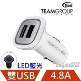 【賠售+折100元+免運】TEAM 十銓 USB 車充 WD01 4.8A (2.4A+2.4A) USB雙孔車用充電器 (藍光LED電源指示光圈)X1
