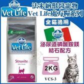 *WANG*【含運】法米納Vet Life獸醫寵愛天然處方《泌尿道磷酸銨鎂結石配方》2KG 全貓適用【VCS-3】