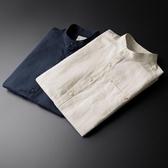 棉麻衣亞麻襯衫男短袖韓版潮流帥氣男士休閒立領白色棉麻襯衣寸衫中國風