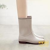 雨鞋女中筒雨靴水靴兩穿防水工作膠鞋外穿防滑水鞋套鞋【輕奢時代】