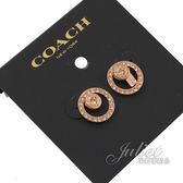 茱麗葉精品【全新現貨】COACH 68009 新款 雙圈亮鑽鑲嵌造型耳環.玫瑰金