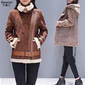 新款冬季羊羔服鹿皮絨外套女冬短款小棉襖加厚毛絨棉衣