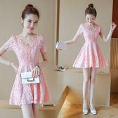 蕾絲洋裝新款小清新顯瘦短裙韓版修身短袖蕾絲連身裙收腰A字裙 EY4265 『優童屋』