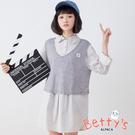 betty's貝蒂思 針織背心+半開襟千鳥格紋襯衫(淺灰)
