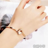 開口手鐲女潮鈦鋼18k玫瑰金抖音同款不掉色森繫手飾品韓版 花樣年華
