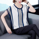 女士上衣2108上衣女夏寬松女裝新款潮條紋印花T恤衫DC250D快時尚