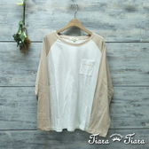 【Tiara Tiara】網路獨家 英字小口袋撞色長袖純棉上衣(白/藍/卡其)