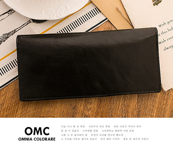 OMC - 韓系原皮魅力真皮款經典14卡2照長夾-黑