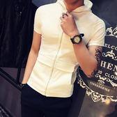 連帽短袖男士夏天衣服彈力緊身體恤小衫社會人純白T恤 ? 小巨蛋之家