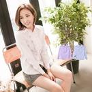 襯衫--甜心OL氣質美-胸前荷葉邊條紋設...