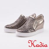 kadia.造型花朵水鑽內增高休閒鞋(0021-88灰色)