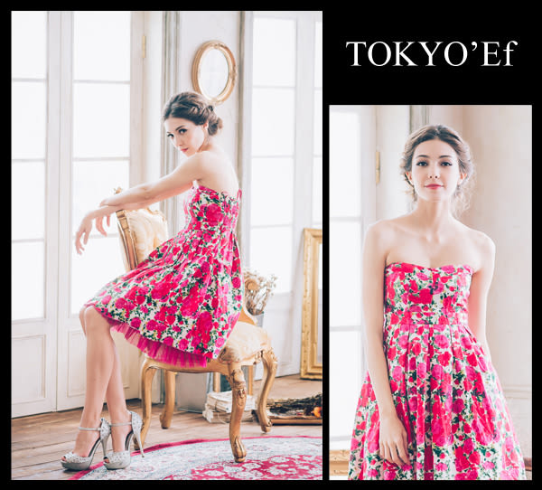 東京衣服 許瑋甯 普羅旺斯玫瑰 心型領 洋裝小禮服 紅花