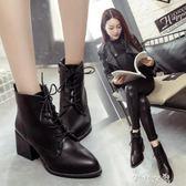 馬丁靴女新款英倫風短靴女粗跟尖頭韓版百搭繫帶短筒踝靴子女 芊惠衣屋