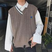 冬季新品V領刺繡針織衫背心寬鬆男士線衫毛衣潮