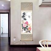 捲軸畫壁畫 70*170平安富貴圖花鳥畫牡丹圖絲綢畫捲軸掛畫客廳裝飾國畫水墨畫已裝裱