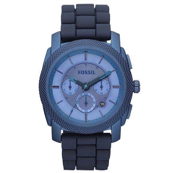 FOSSIL 絕讚霸氣視覺三眼計時腕錶(藍)
