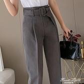 灰色西裝褲女2020夏新款休閒直筒寬鬆韓版百搭九分職業煙管褲薄款 果果輕時尚