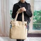 新款女包帆布包單肩包男女包包日系方包多袋布包布藝休閒上班挎包【果果新品】