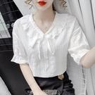 蕾絲短袖 2021年新款夏季韓版時尚氣質減齡蕾絲衫短袖洋氣荷葉邊v領上衣女