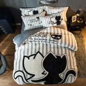 極柔加厚法蘭絨床包四件組-雙人-俏貓咪【BUNNY LIFE 邦妮生活館】