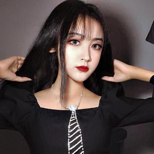 克妹Ke-Mei【AT51874】法式浪漫Bling奢華十分鑽釦環式鎖骨頸鍊