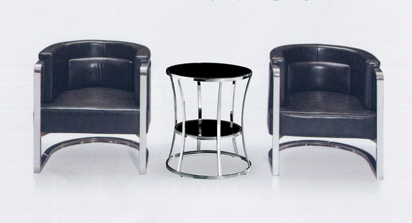 【 IS空間美學】FZ-642洽談黑皮雲彩沙發椅