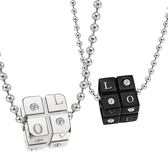 鈦鋼項鍊墜飾(一對)-骰子鑲鑽生日情人節禮物男女對鍊73cl113[時尚巴黎]