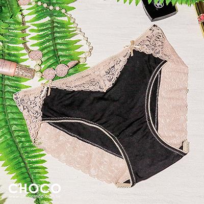 Choco Shop-美夢旅程‧彈力蕾絲花邊棉質內褲(黑色)  S~L