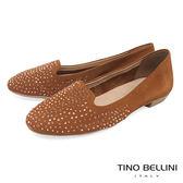 Tino Bellini 巴西進口閃耀水鑽舒適樂福鞋_ 棕 A83048 歐洲進口款
