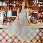 洋裝 亮片大傘襬兩件式無袖長洋裝-Ruby s 露比午茶