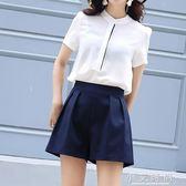 闊腿短褲高腰寬鬆學生大碼胖mm顯瘦休閒a字裙褲鬆緊女 小艾時尚