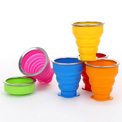 糖果色旅行矽膠折疊杯 戶外便攜可折疊水杯 多功能創意水杯 伸縮杯